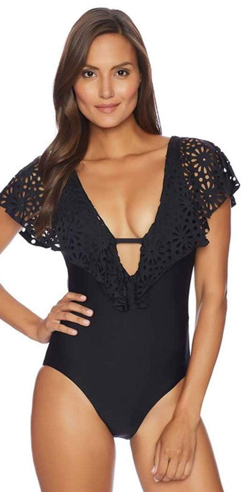 Luxe Aphrodite One Piece In Black LU13558-BLK: