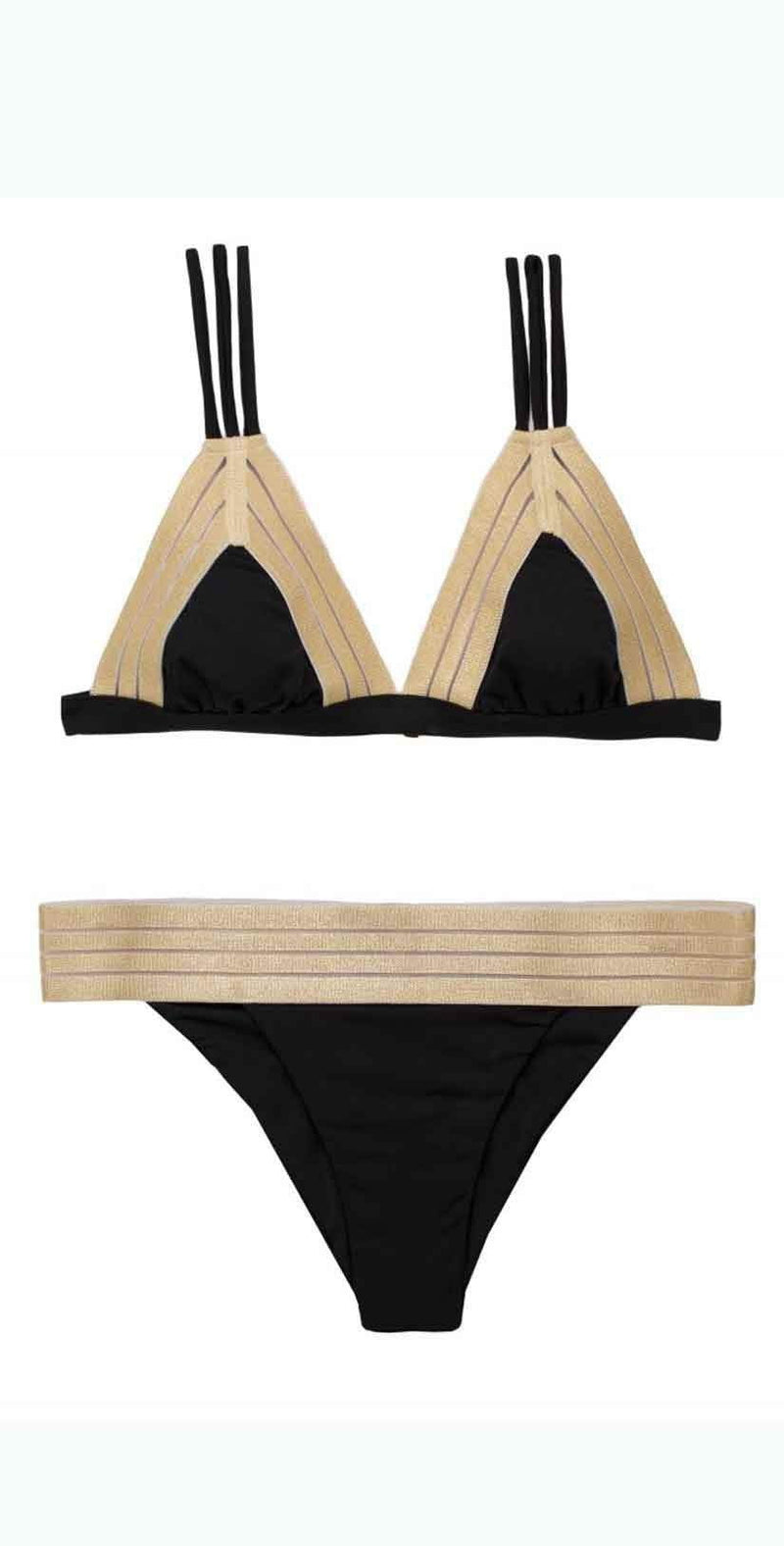 Beach Bunny Sheer Addiction Bottoms In Black and Gold B17123B1-BLCK: