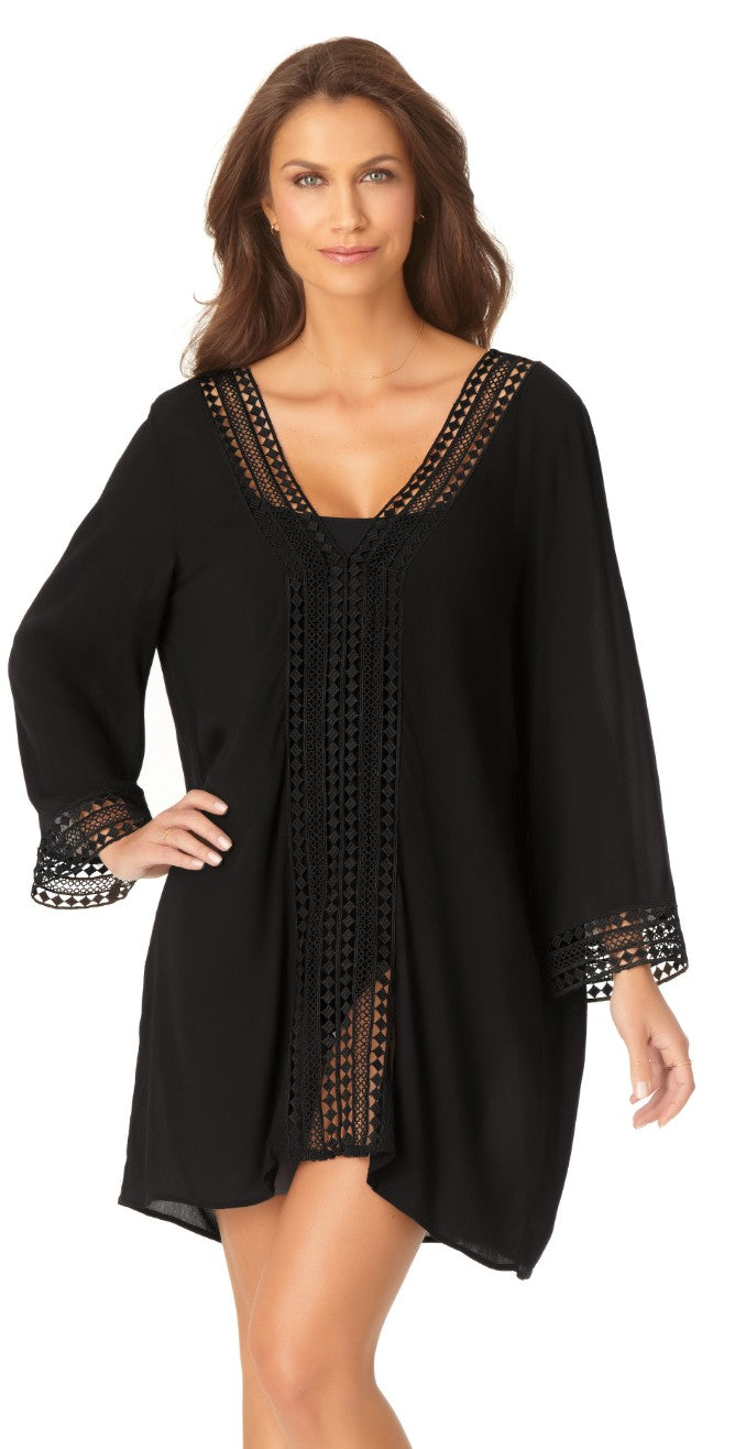 Anne Cole V-Neck Tunic Cover-up 20MC52715-BLK