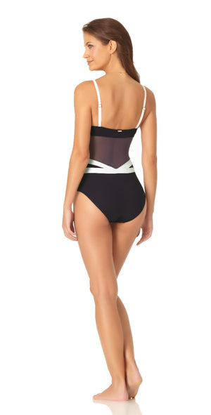 Anne Cole Hot Mesh Spliced Navy And White Mesh One Piece