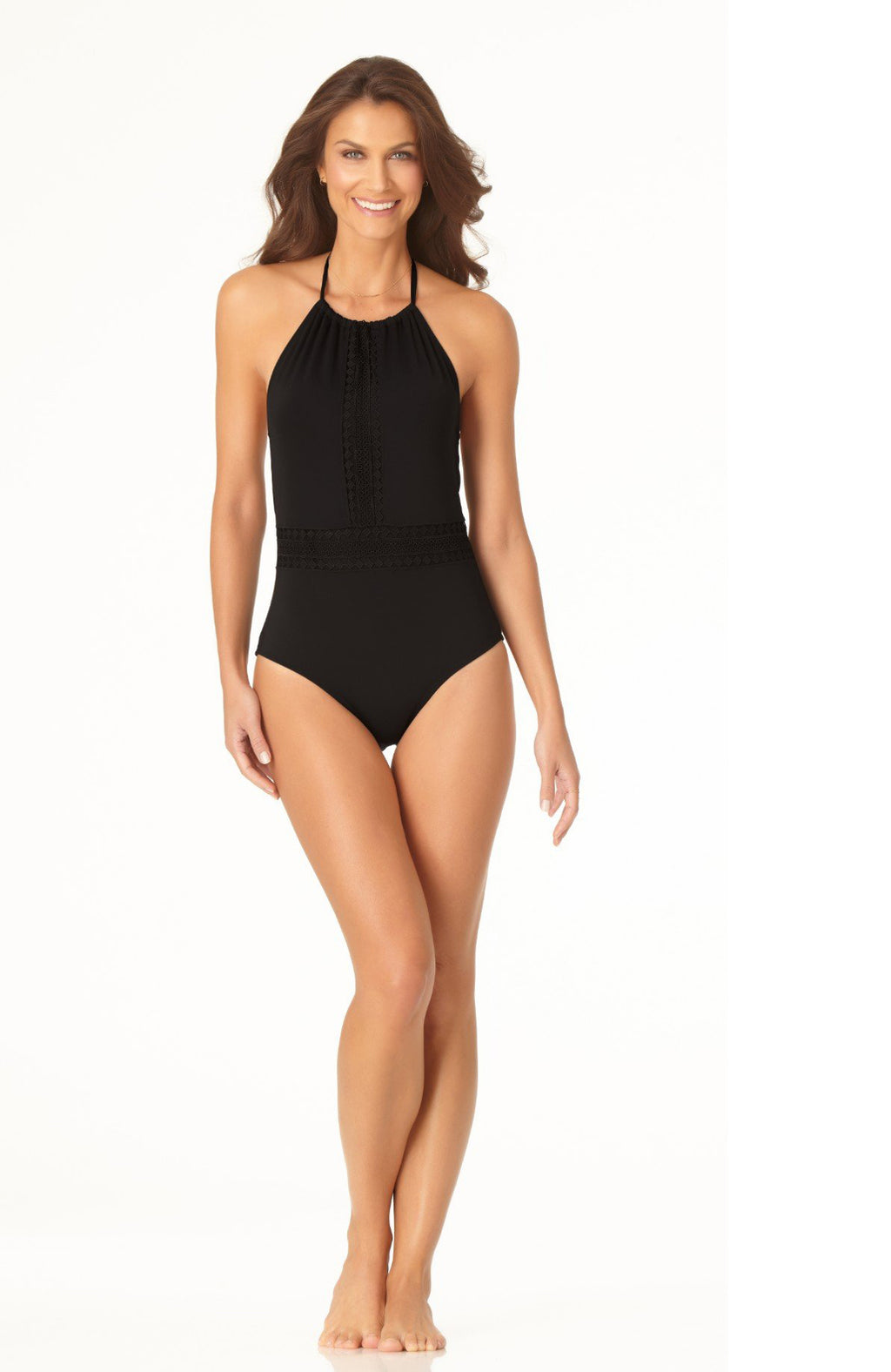 Anne Cole High Neck Lace Insert One Piece Swimsuit in Black