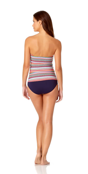Anne Cole Twist Front Shirred Bandeau-kini