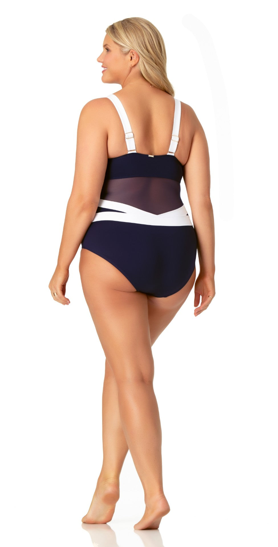 Anne Cole Hot Mesh Asymmetric Spliced Mesh One Piece Swimsuit