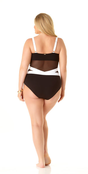 Anne Cole Spliced Black And White Mesh One Piece