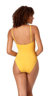 Anne Cole Studio Solid Lingerie Swimsuit in Gold