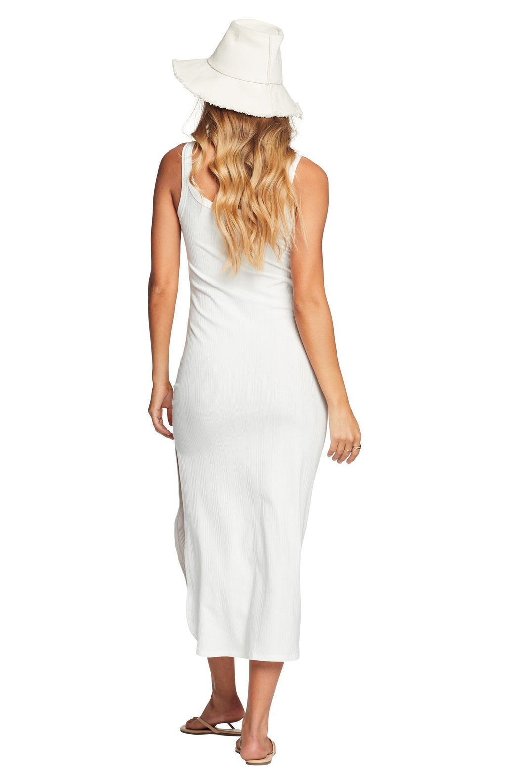 Vitamin A West Tank Dress in White Organic Rib back view