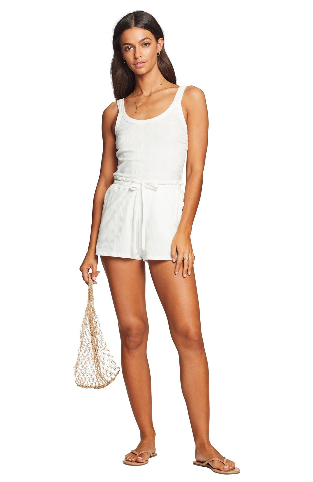 Vitamin A Thalia Shorts in White Organic Rib front view