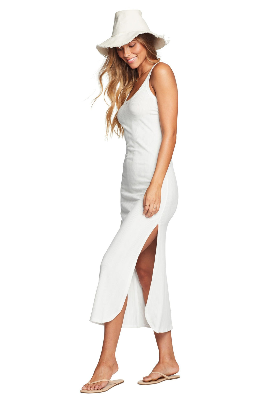 Vitamin A West Tank Dress in White Organic Rib