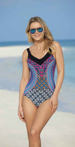 Sunflair Latin Art Mastectomy One Piece Swimsuit front