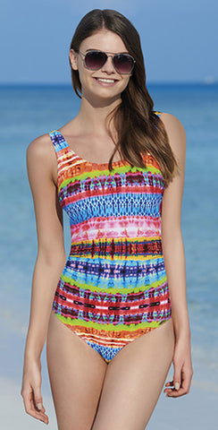 Sunflair Flowers and Stripes Sweetheart Neckline One Piece Swimsuit 22253 5