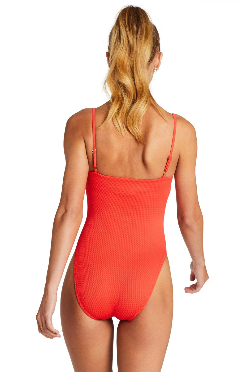 Vitamin A Jenna Full Cut One Piece Swimsuit in Red EcoTex