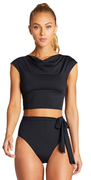 Vitamin A Celia Cap Sleeve Top in Black 2RG ECB front