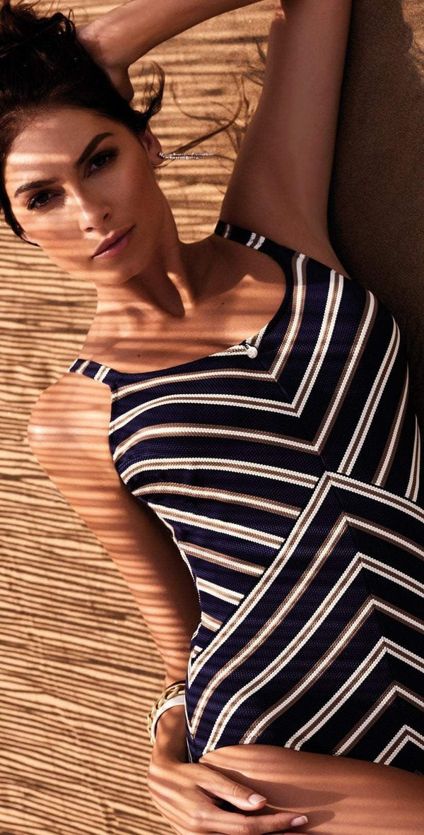 Nuria Ferrer Cannes One Piece in Navy Blue Stripes 3260