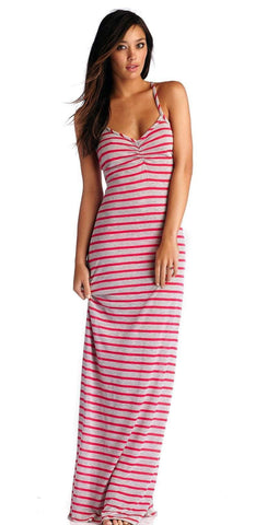 CA by Vitamin A Erica Heather Stripe Rose Long Dress 33DHSR