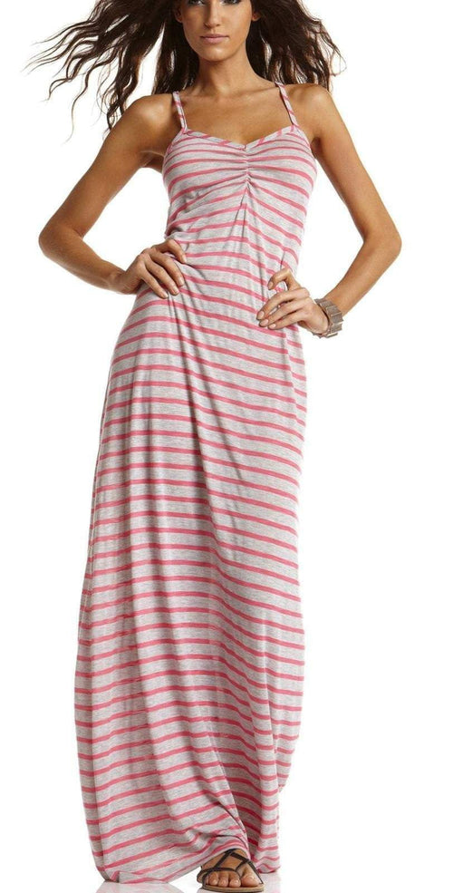 CA by Vitamin A Long Pink Striped Dress 33DHSP front studio