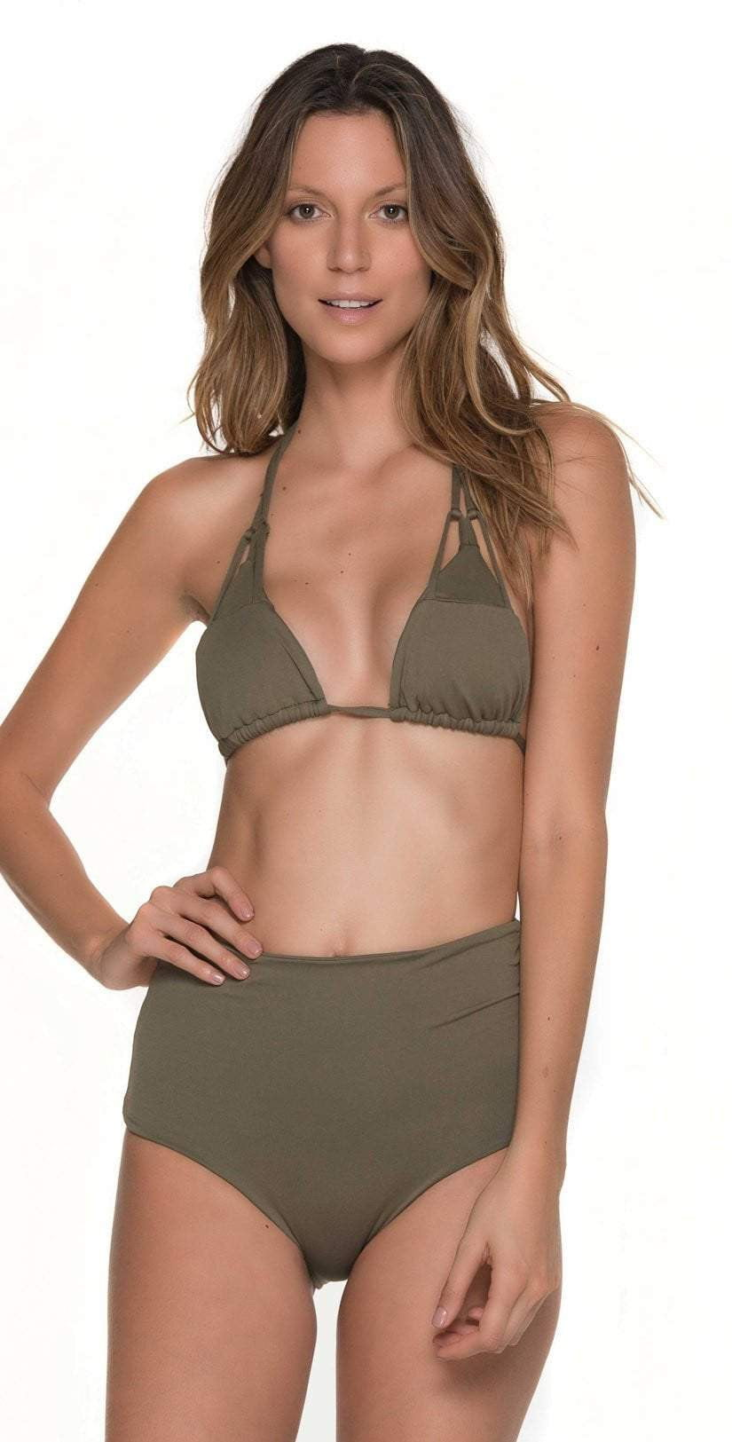 Malai Must Fishbone Triangle Top In Army Green  T00371-ARMY Full
