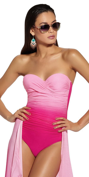 Roidal Brasil Megan Bandeau Underwire One Piece In Pink Ombre 409/08: