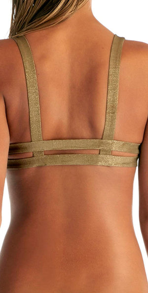 Vitamin A Neutra Bralette Top in Bronze Metallic 40T-BNZ: