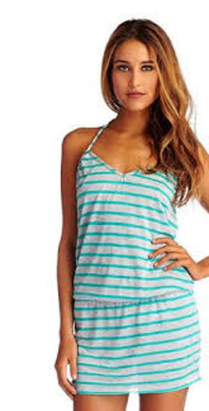 Vitamin A Coachella Dress in Heather Stripe in Clover 45DHCL: