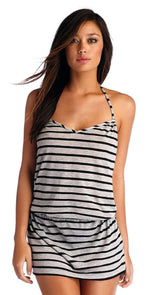 CA by Vitamin A Heather Stripe Black Coachella Dress 45DHSB: