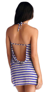 CA by Vitamin A Coachella Dress in Heather Stripe Electric Blue 45DHBH: