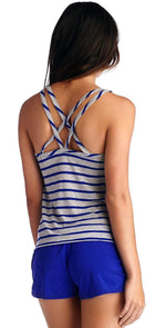 CA by Vitamin A Tali Cross Back Tank in Electric Blue 4TNHBH: