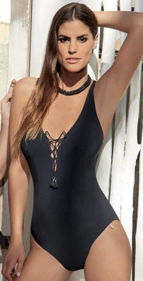 Opera Swim Tender Secret One-Piece Swimsuit in Black 62668-5 front lifestyle model
