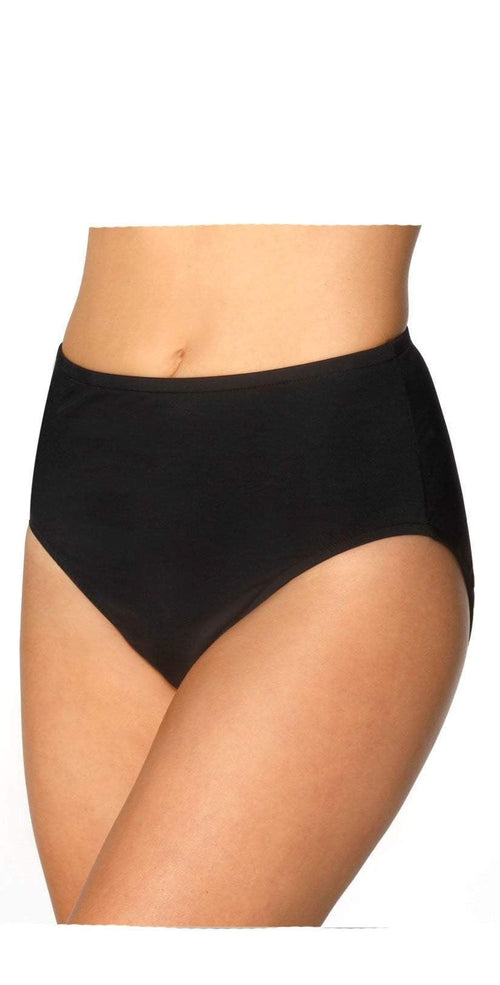 Miraclesuit Black Basic Brief Bikini Bottom 6518801-BLK front view of bottom