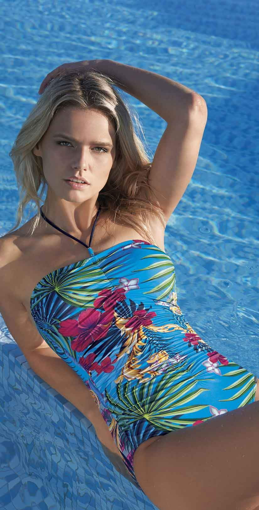 Sunflair Blue Henry Bandeau One Piece Swimsuit: