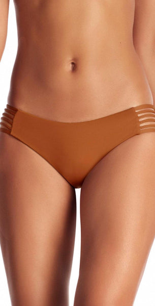 Vitamin A EcoLux Rum Jaydah Braid Full Bikini Bottom 76BFTER front view bottom only