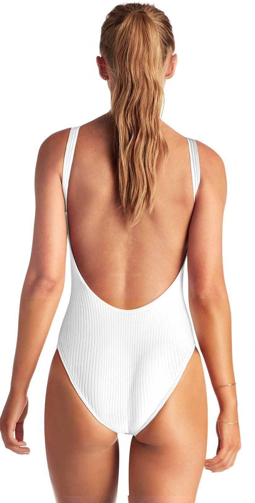 Vitamin A Eco Rib Leah Full Coverage One Piece in White 76MF ERW
