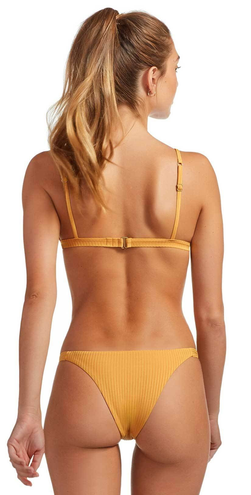Vitamin A Carmen EcoRib Bikini Bottom in Marigold 84B ERM: