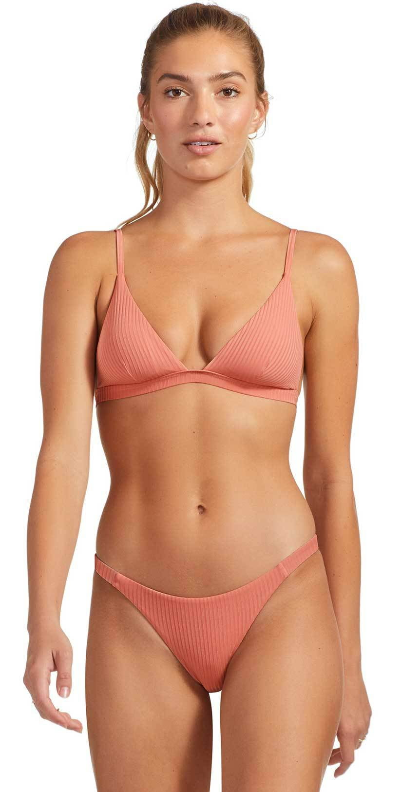 Vitamin A Carmen EcoRib Bikini Bottom in Soft Coral 84B ERSC: