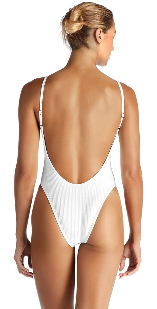 Vitamin A EcoRib Yasmeen One Piece in White 801M ERW studio model back image