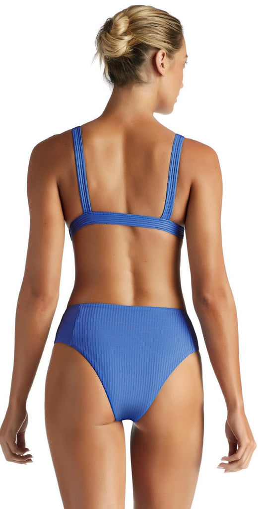 Vitamin A Beach Blue EcoRib Sienna High Waist California Cut Bikini Bottom 814B-ERBB back view of suit on model