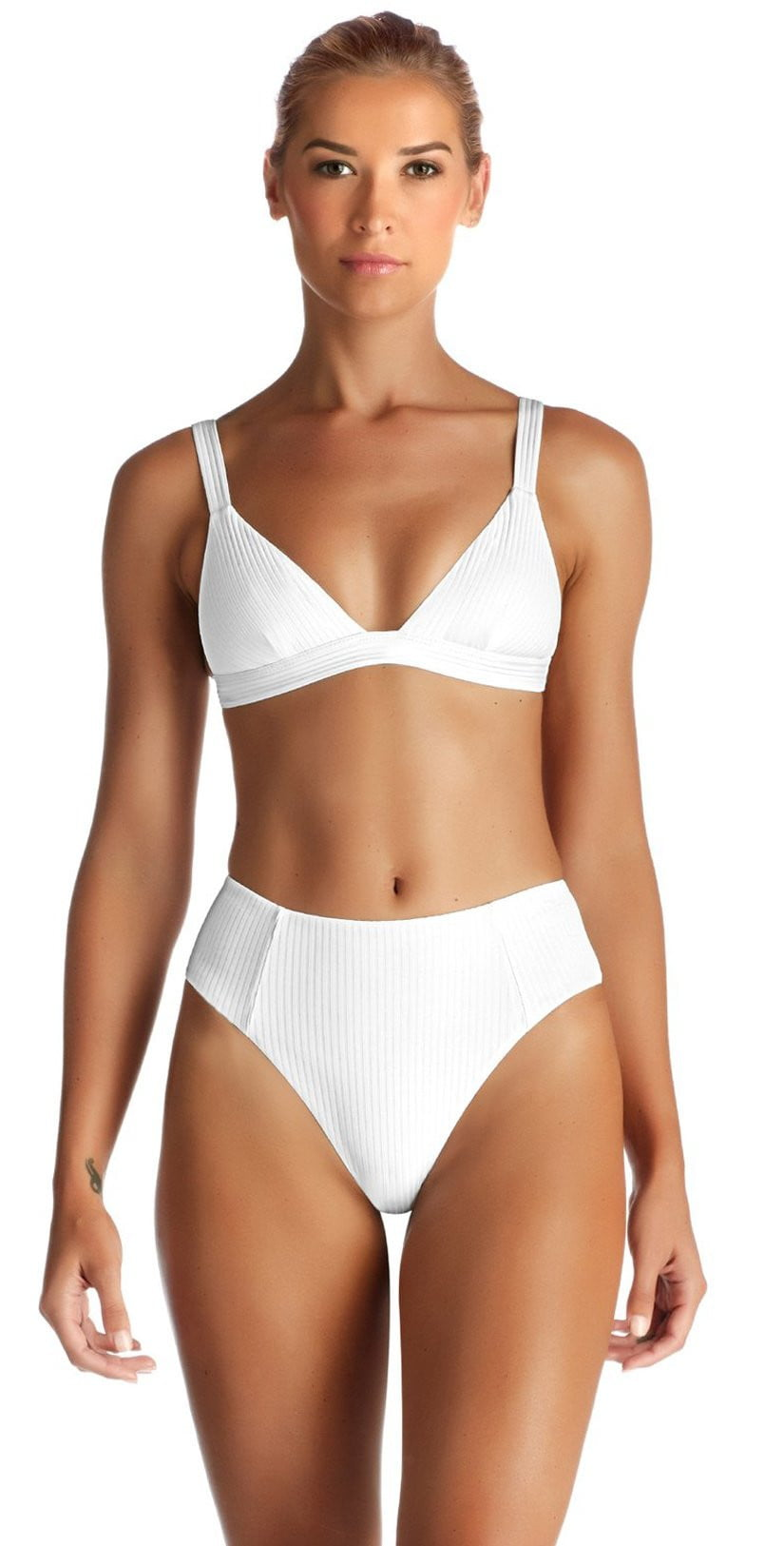Vitamin A Neutra EcoRib Triangle Bikini Top in White 805T ERW front studio model