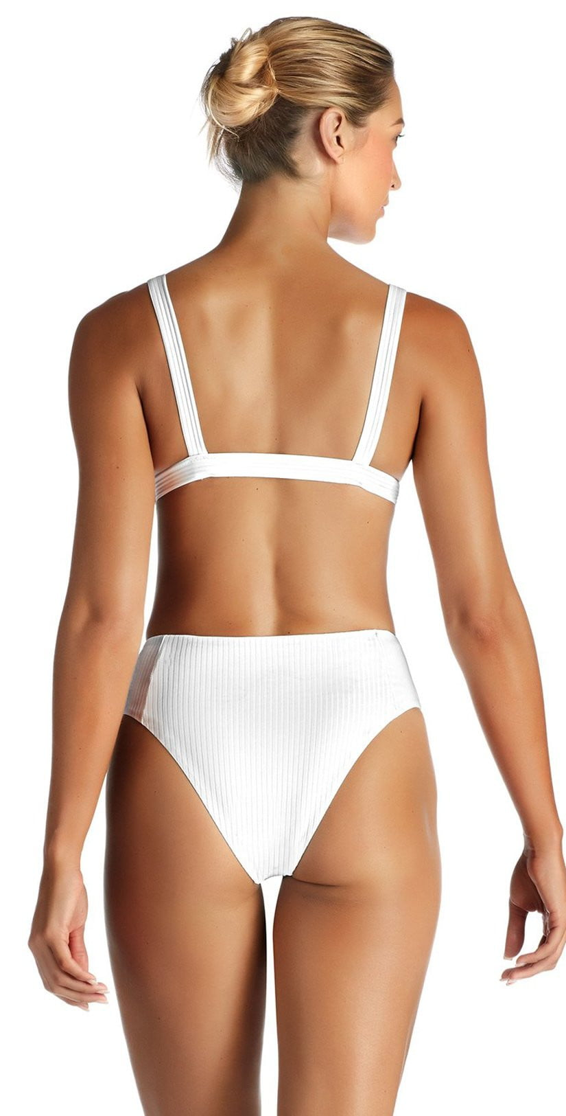 Vitamin A Neutra EcoRib Triangle Bikini Top in White 805T ERW back studio model