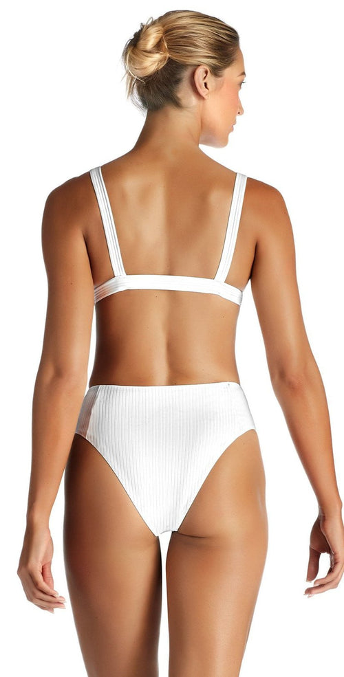 Vitamin A Sienna EcoRib High Waist Bottom in White 814B ERW back studio model