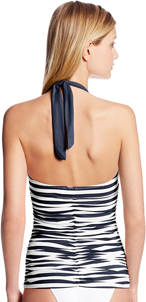 Anne Cole Stripe and Tuck Tankini Top in Navy