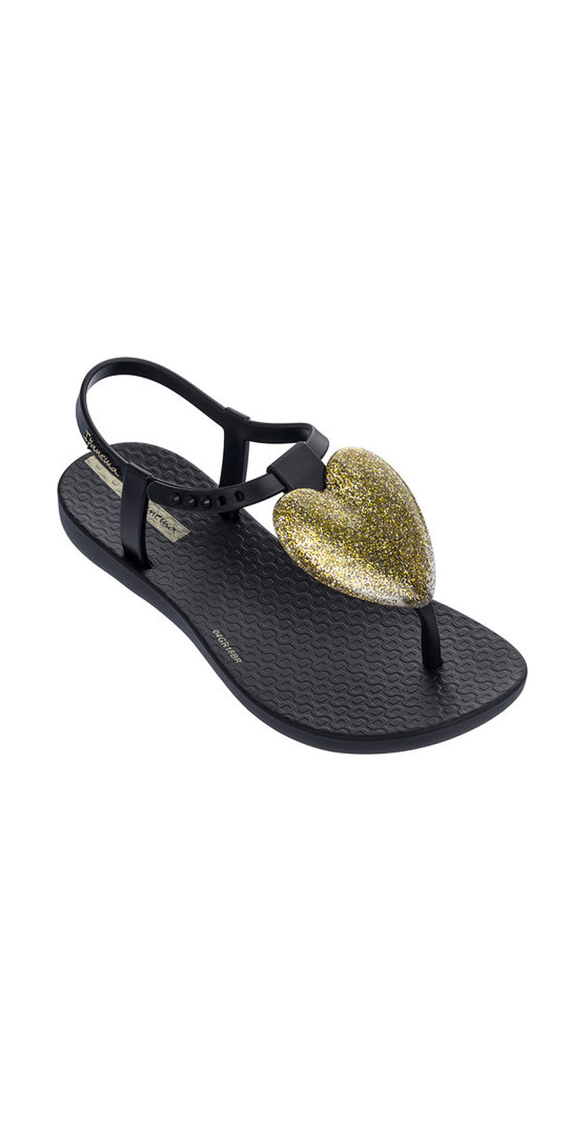 iPanema Kids Gold Heart Love Sandal in Black