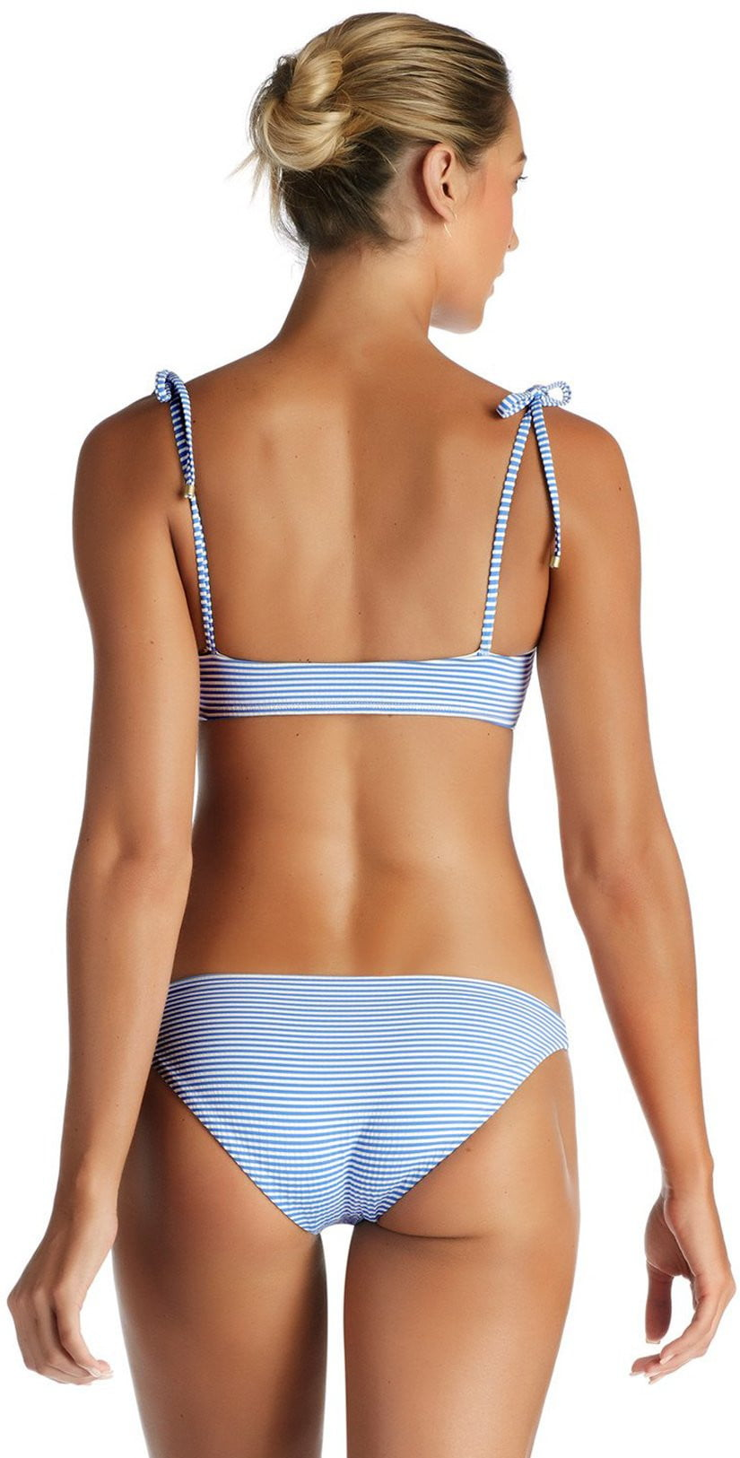 Vitamin A Hamptons Stripe Luciana Full Coverage Bikini Bottom 167BF-HAM back view of model