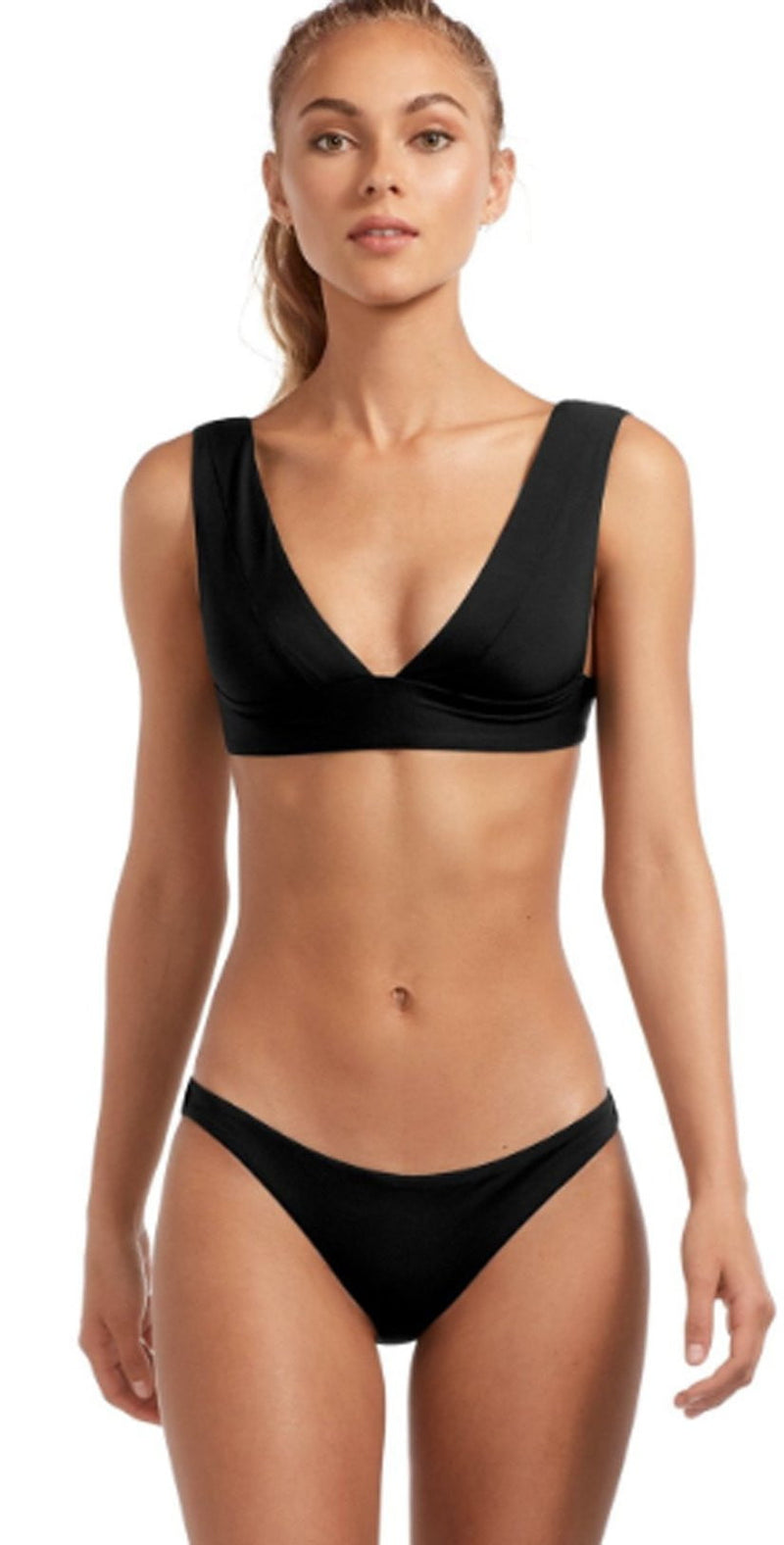 Vitamin A EcoLux Magnolia V-Neck Top in Black 87T ECB: