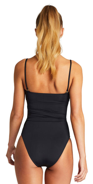 Vitamin A Marylyn One Piece Full Bottom Coverage in Black back with straps