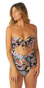 Raisins Puerto Vallarta One Piece Swimsuit in Indo Bloom A711788-BLK: