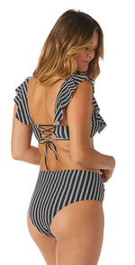 Raisins Del Mar Stripe Shayla High Waist Bikini Bottom A711864-BLK: