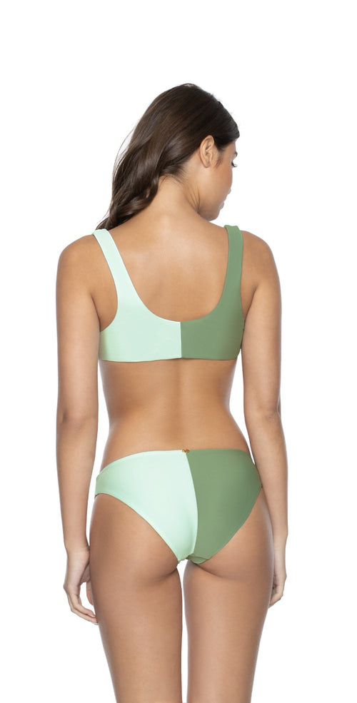 PilyQ Azura Two Tone Full Coverage Bikini Bottom