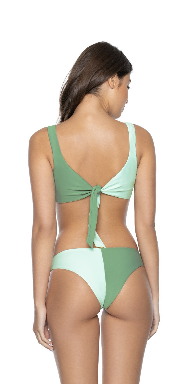 PilyQ Azura Two Tone Teeny Coverage Bikini Bottom Back