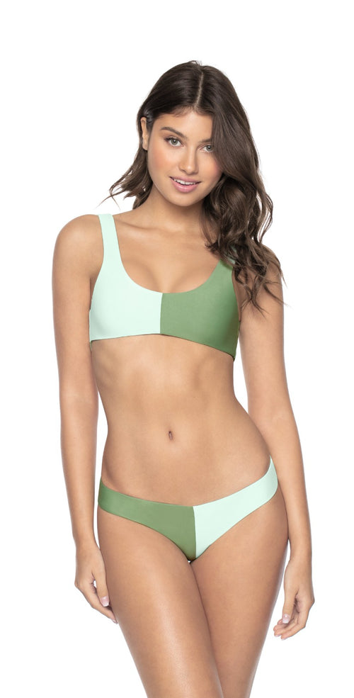 PilyQ Azura Two Tone Full Coverage Bikini Bottom Front