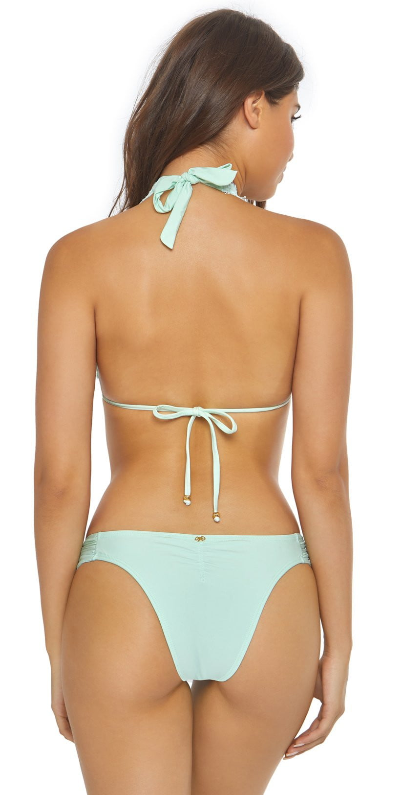 PilyQ Azura Lace Fanned Teeny Bikini Bottom AZU-251T Blue: