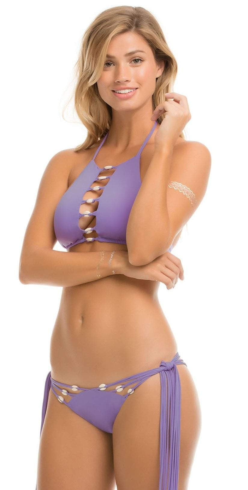 ale by Alessandra Purple Bikini Top with shell detail